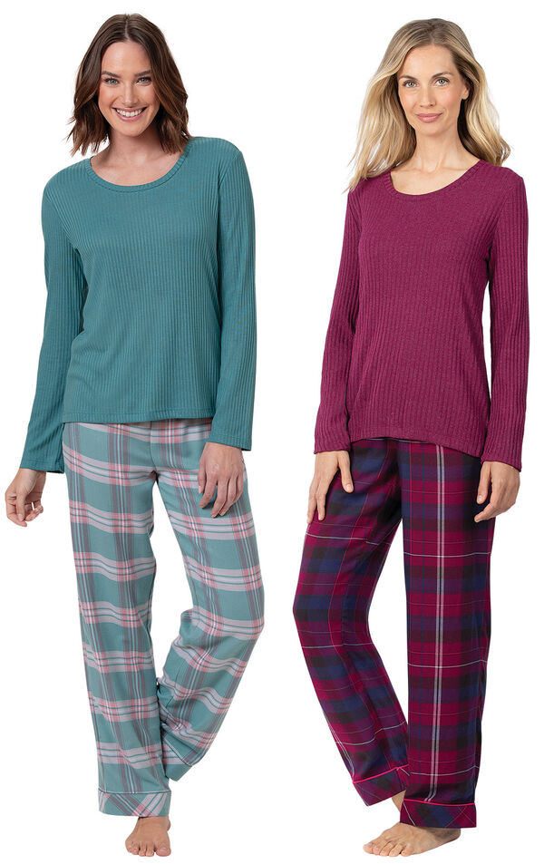 Teal Plaid and Black Cherry Plaid World's Softest Flannel Pullover PJs Gift Set image number 0