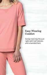 Whisper Knit Jogger PJs feature a scoop-neck top with half sleeves and a banded hem image number 2