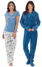 Models wearing Dream Pajamas and Hoodie-Footie - Blue. image number 0