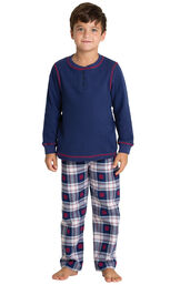 Model wearing Dark Blue Snowflake Plaid Thermal Top PJ for Kids