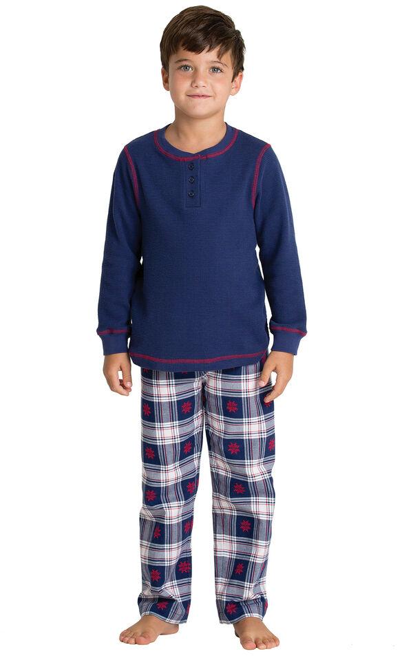 Model wearing Dark Blue Snowflake Plaid Thermal Top PJ for Kids image number 0