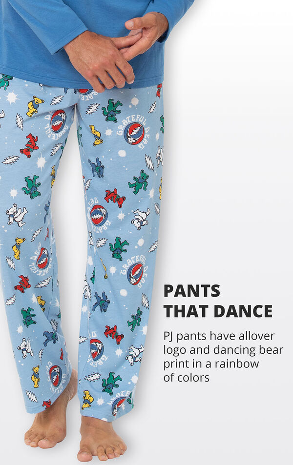 PJ pants have allover logo and dancing bear print in a rainbow of colors image number 4