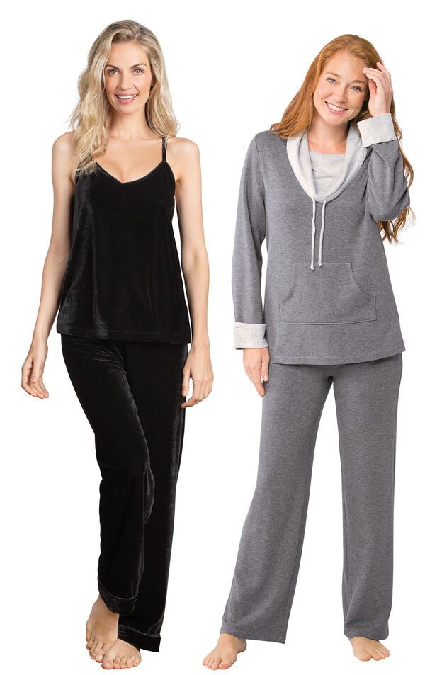 Models wearing Velour Cami Pajamas - Black and World's Softest Pajamas - Charcoal. image number 0