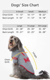 Dogs' Size Chart XS (Chest Girth 11-13'', Back length 9-10''), SML (Chest 14-17'', Back 11-13''), MED (Chest 18-22'' Back 14-18''), LG (Chest 23-28'', Back 19-21''), XL (Chest 29-34'', Back 22-25''), XXL (Chest 35-39'', Back 26-28'') image number 3