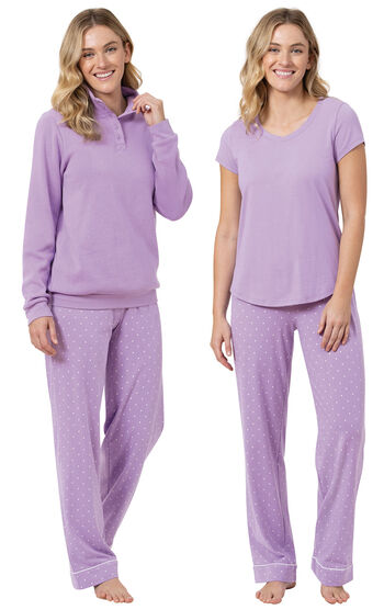 Classic Polka-Dot 3-Piece Pajama Set - Lavender