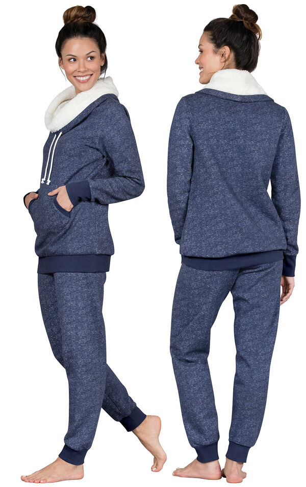 Model wearing Dark Blue Roll-neck Pajama Set for Women, facing away from the camera and then to the side image number 1