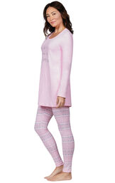 Model wearing Long Sleeve and Legging Pajamas - Pink Fair Isle, facing to the side image number 2