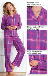 Close-ups of the features of Raspberry Plaid Boyfriend Flannel Pajamas which include a notched collar and chest pocket, classic button-front boyfriend style and long sleeves with cuffs and piping image number 2