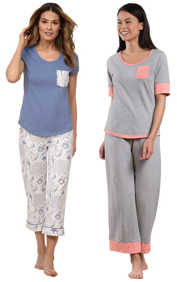 Models wearing Summer Shells Capri Pajamas - Blue and Cozy Capri Pajama Set - Gray image number 0