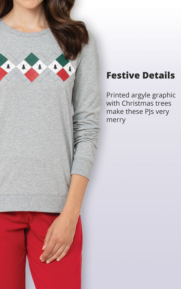 Printed argyle graphic with Christmas Trees makes these PJs very merry image number 3