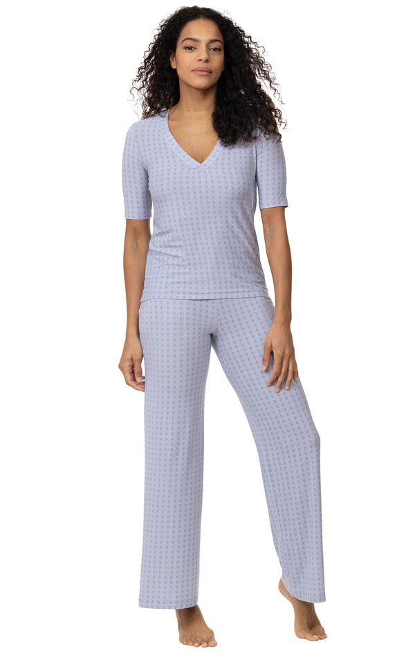 Model wearing Light Blue Stretch Knit Geo Print PJ for Women image number 0