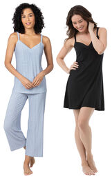 Models wearing Naturally Nude Capri Pajamas - Blue and Naturally Nude Chemise - Solid Black.