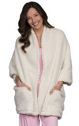 Model wearing Fleece Wrap - White image number 0