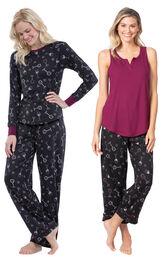 Models wearing Wine Down Tank Capri Pajamas and Wine Down Pajamas.