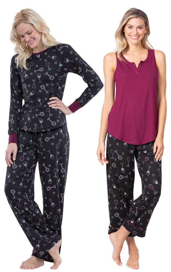 Models wearing Wine Down Tank Capri Pajamas and Wine Down Pajamas. image number 0