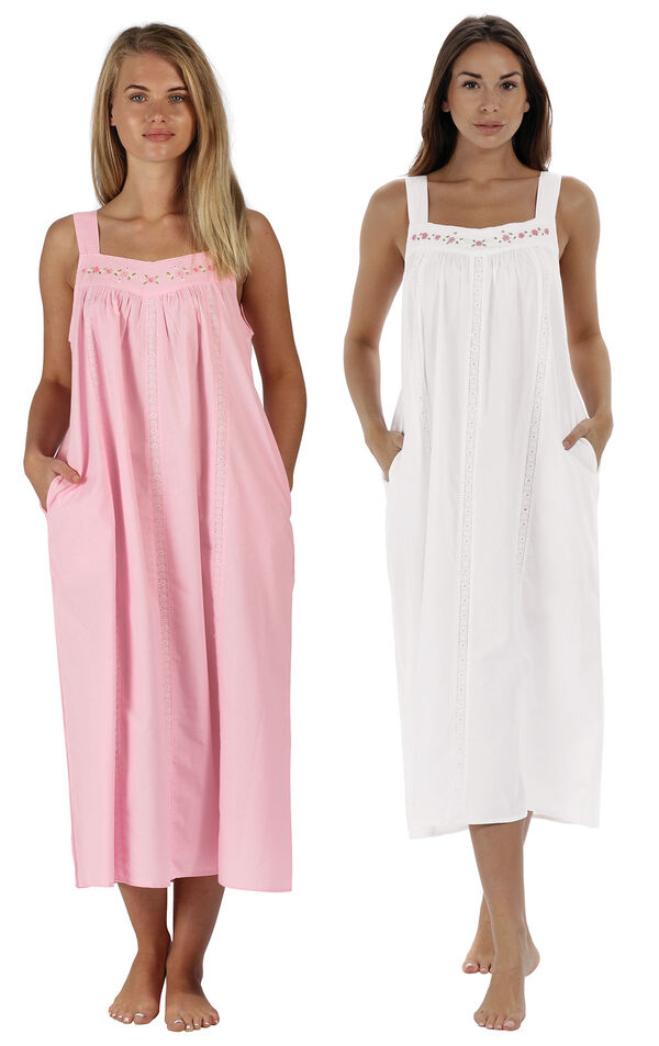 Models wearing Meghan Nightgown - Pink and Meghan Nightgown  - White image number 0