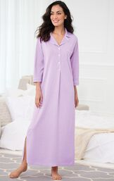 Model standing by bed wearing Purple with White Polka Dots Oh-So-Soft Pin Dot Nighty - Lavender image number 1