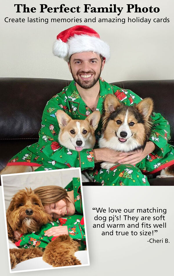 Customers and their pets wearing matching Charlie Brown Christmas Pajamas. Customer Quote: We love our matching Dog PJs! They are soft and warm and fits well and true to size! - Cheri B. image number 1