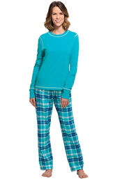 Model wearing Green and Blue Bright Plaid PJ for Women image number 0