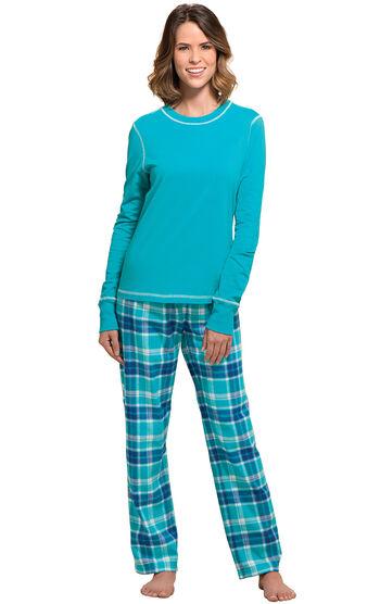 Wintergreen Plaid Jersey-Top Flannel Pajamas
