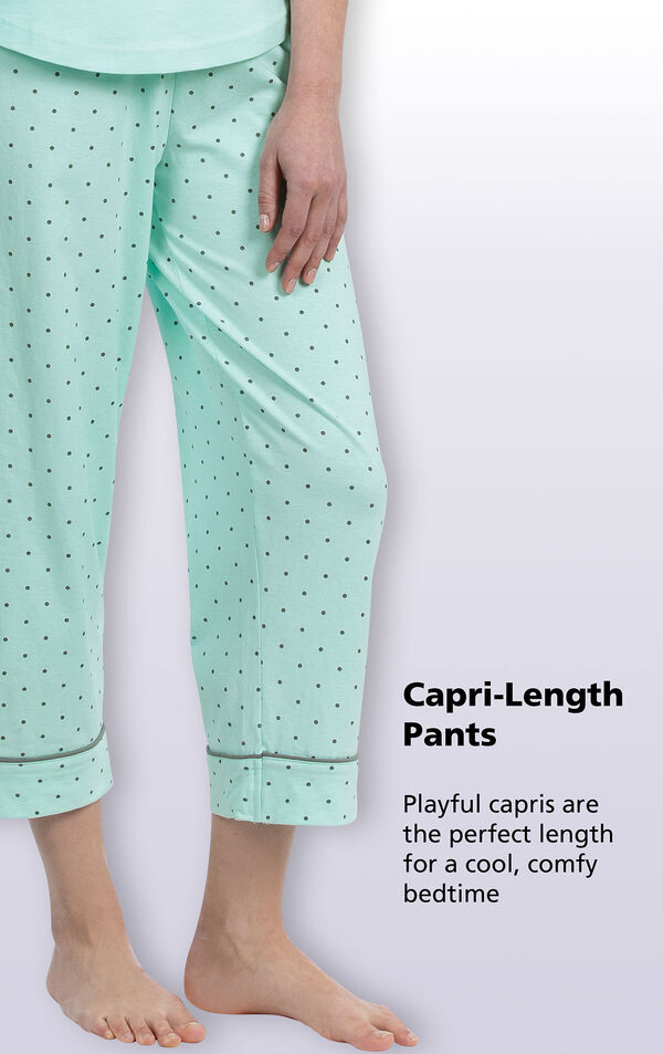 Mint with Gray Polka Dots Capri-Length Pants - playful capris are the perfect length for a cool, comfy bedtime image number 3