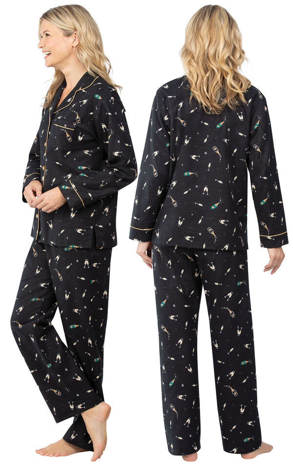 Model wearing Black Champagne Flannel Button-Front PJ for Women, facing away from the camera and then to the side image number 1