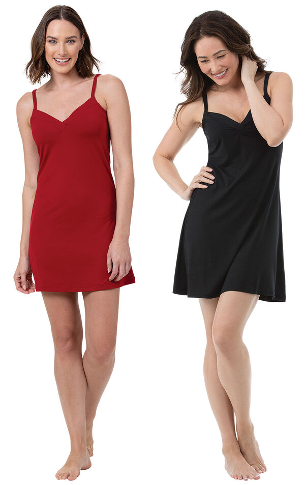 Red and Black Naturally Nude Chemise Gift Set image number 0