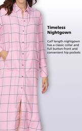 Calf length nightgown has a classic collar and full button-front and convenient kangaroo pockets image number 3