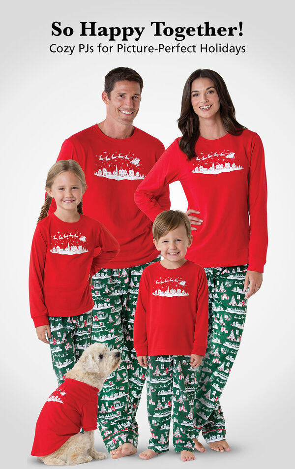Parents and kids wearing Red and Green The Night Before Christmas matching family pajamas. Headline: So Happy Together! Cozy PJs for Picture-Perfect Holidays. image number 1