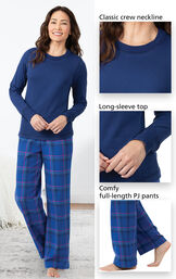 Close-ups of the features of Indigo Plaid Jersey-Top Flannel Pajamas which include a classic crew neckline, long-sleeve top and comfy full-length PJ pants image number 3