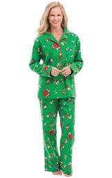 Model wearing Green Charlie Brown Christmas PJ for Women
