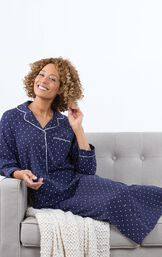 Model sitting on couch wearing Navy with White Polka Dots Classic Polka-Dot Nighty image number 2