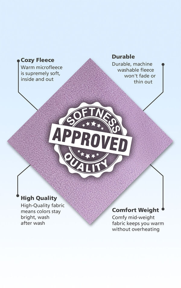 Lavender Fleece swatch with the following copy: Warm microfleece is supremely soft. Machine washable fleece won't fade or thin out. High-quality fabric means colors stay bright. Comfy mid-weight fabric keeps you warm without overheating image number 5