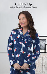 Model wearing Blue with Polar Bear Print Polar Bear Fleece Women's Pajamas with the following copy: Cuddle Up in our Exclusive Snuggle Fleece image number 3