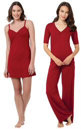 Red Naturally Nude Chemise and PJs image number 0