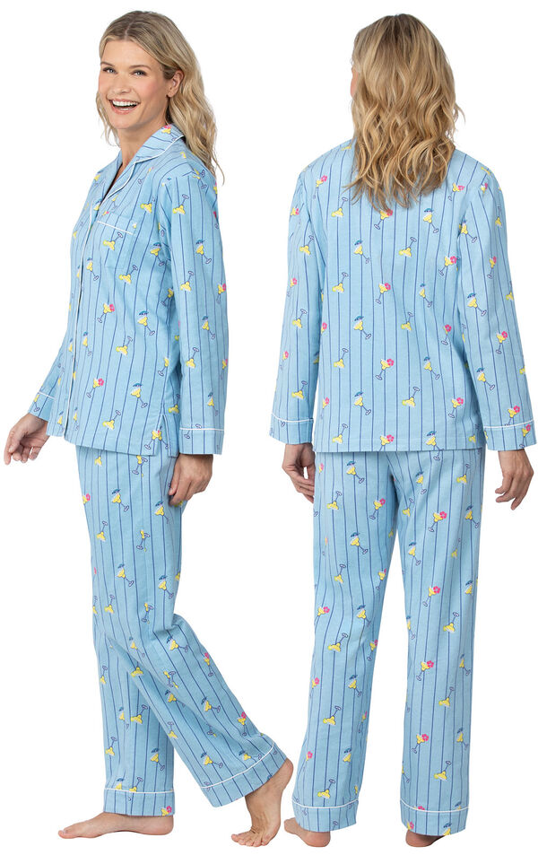 Model wearing Blue Stripe Margaritaville Button-Front PJ for Women, facing away from the camera and then to the side image number 1