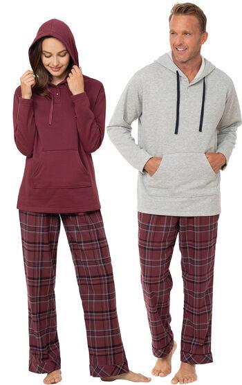 Burgundy Plaid Hooded His & Hers Matching Pajamas