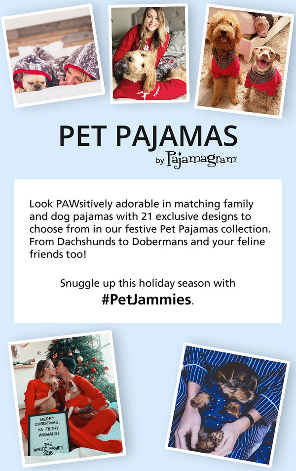 Pet Pajamas by PajamaGram: Look PAWsitively adorable in matching family and dog pajamas with 21 exclusive design to choose from. From Dachshunds to Dobermans and your feline friends too! Snuggle up this holiday season with #PetJammies. image number 6