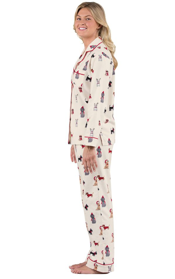 Model wearing Cream Button-front PJs with allover dog print facing to the side image number 2