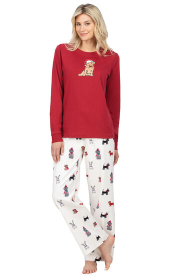 Christmas Dog Flannel Pajamas - Red