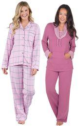 Models wearing World's Softest Flannel Boyfriend Pajamas - Pink and World's Softest Pajamas - Raspberry.