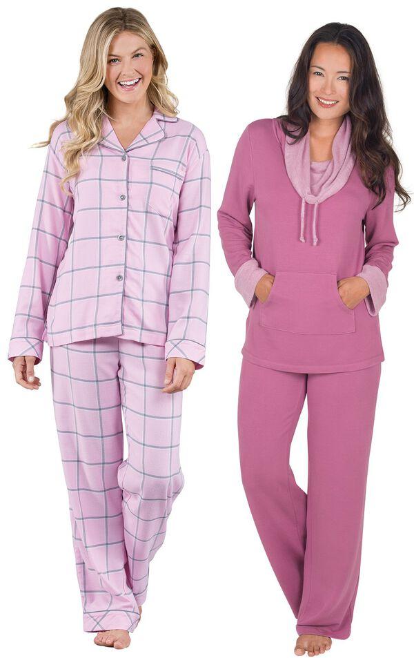Models wearing World's Softest Flannel Boyfriend Pajamas - Pink and World's Softest Pajamas - Raspberry. image number 0