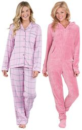 Models wearing World's Softest Flannel Boyfriend Pajamas - Pink and Hoodie-Footie - Pink.