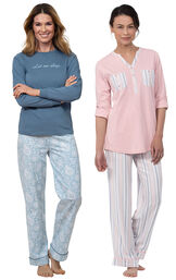 "Models wearing ""Let Me Sleep"" Pajamas and Soft Stripe Henley Pajamas image number 0"