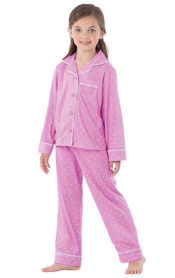 Button-Front Girls Pajamas - Lavender Polka Dot