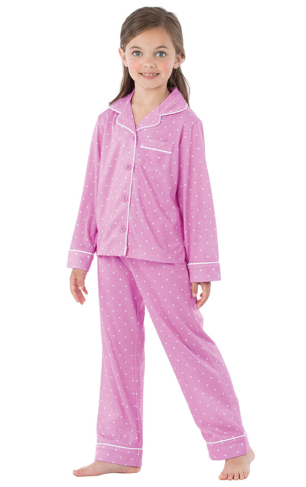 Model wearing Lavender and White Polka Dot Button-Front PJ for Youth image number 0