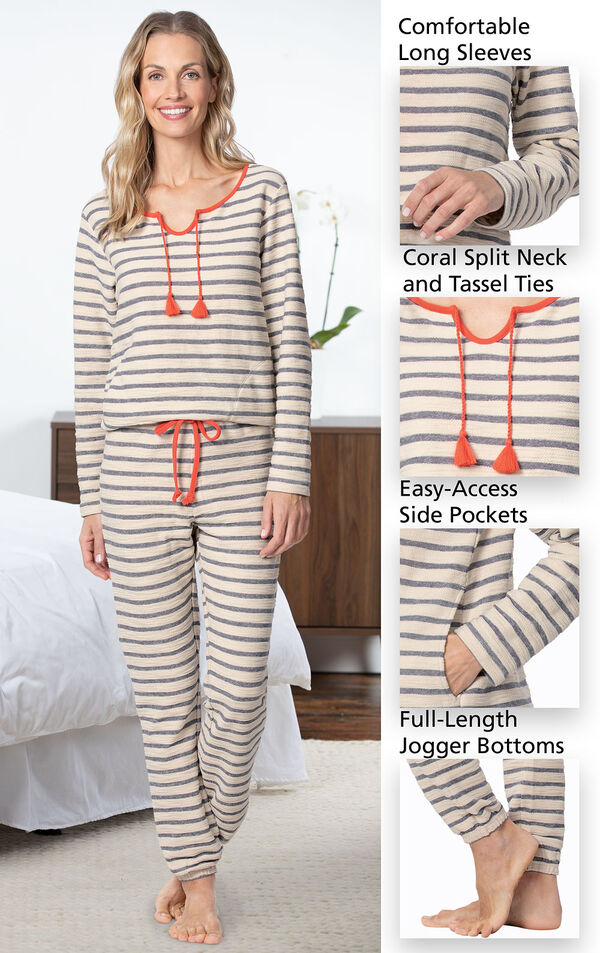 Close-ups of the features of Seeing Stripes PJs, which include comfortable long sleeves, coral split neck and tassel ties, easy-access side pockets and full-length jogger bottoms image number 3