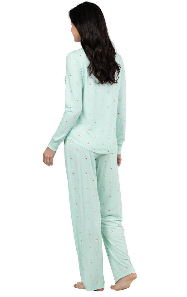 Model wearing Whisper Knit Henley Pajamas - Aqua Llamas, facing away from the camera image number 1