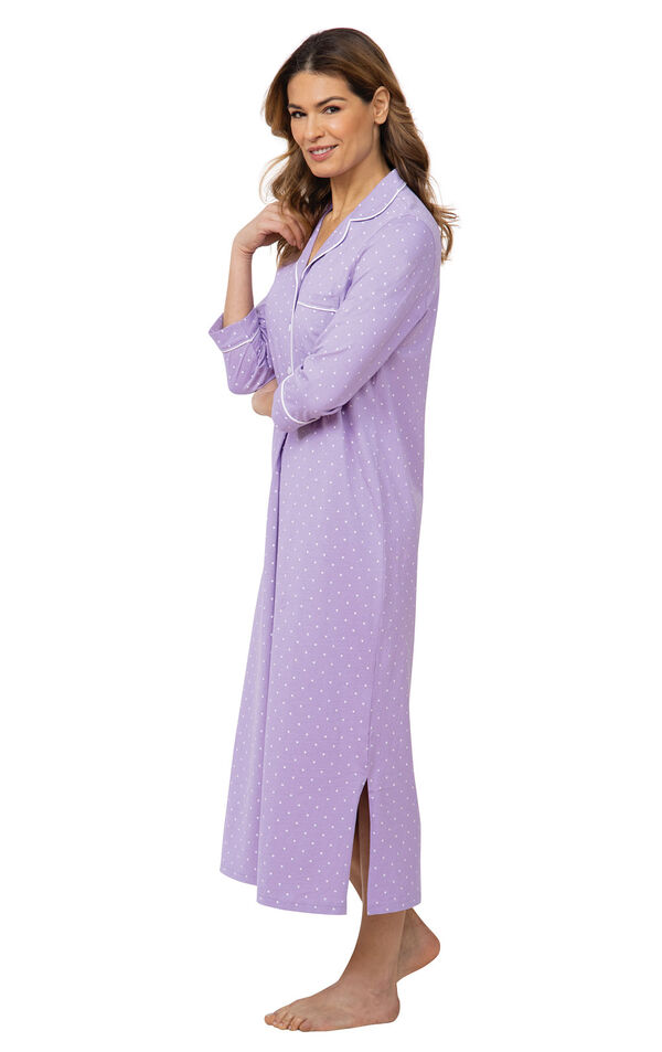 Model wearing Purple with White Polka Dot Gown for Women facing to the side image number 2