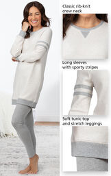 Close-ups of the features of Sporty Sweatshirt and Leggings PJ Set - Ivory/Gray which include a classic rib-knit crew neck, long sleeves with sporty stripes and soft tunic top and stretch leggings image number 3